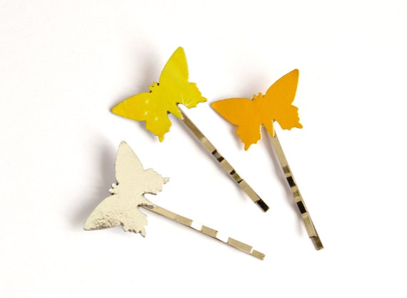 Butterflies bobby pins, set of 3 in gold, silver and bronze cardboard - one of a kind ooak