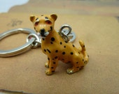 1pcs 12x28x30mm Hand Painted Lovely Enamel 3D Leopard Charm Pendant With Mixed Items Key Chain Ea18