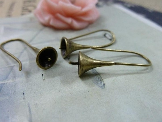 6pcs(3 pairs) 8x26mm Antique Bronze Brass Earring Hook Earwires C1783