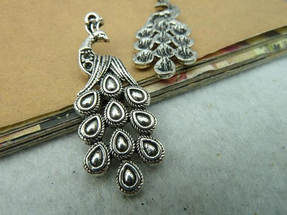 8pcs 15x41mm Antique Silver Lovely  Peacock  Phoenix Charms Pendant  c2822