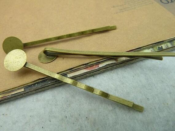 10pcs 10x62mm Antique Bronze Brass Simple Base setting Bobby Hair Pin c2826