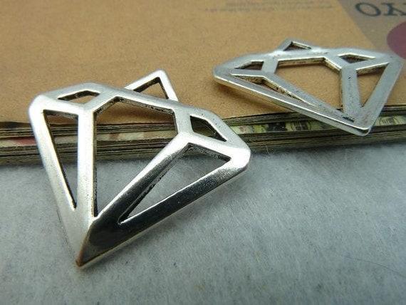 5pcs 28x30mm Antique Silver Lovely Hollow Diamond Jewel Charms Pendant C2671