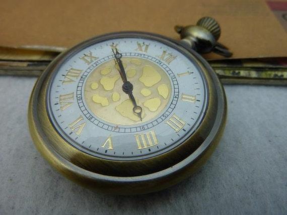 1pcs 47mm Antique Bronze Huge Locket Necklace Pendant / Pocket Watch c5057