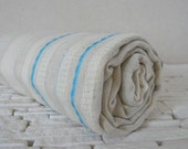Turkish BATH TOWEL - Organic linen HAREM Peshtemal - Ivory - Blue Stripes