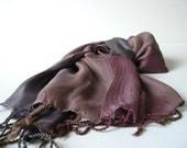 Handwoven Silk Ida Scarf   - Multicolor -  Burdungy - Brown - Grey
