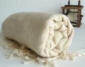 Organic Linen - Turkish Bath Towel - Regional Peshtemal -  Ivory