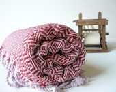 TurKish BaTh ToWel -  DiaMond PesHteMal  - Red - PuRe SoFt