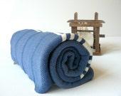 TurKish BaTh ToWel -Beach Towel  The Ephesus PesHteMal  - Denim Blue - Ivory Stripes