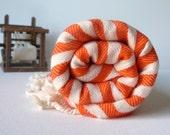 Turkish Bath Towel - Commagene Peshtemal   - Soft Cotton - Pumpkin Orange