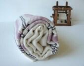 TURKISH BATH TOWEL -Cashmere Bogazici Peshtemal -Rose Pink - Plum - ivory