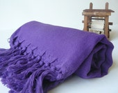 Handwoven Turkish Bath Towel - Cotton Peshtemal - Purple Pure Soft