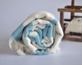 Hand woven TurKish BaTh ToWel - BoHeMian PesHteMal  - Ivory - Turquoise Stripes