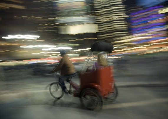 NYC Art Print, Wall Art, New York City Photography, Movement, Rickshaw,  Graphic, Street photography