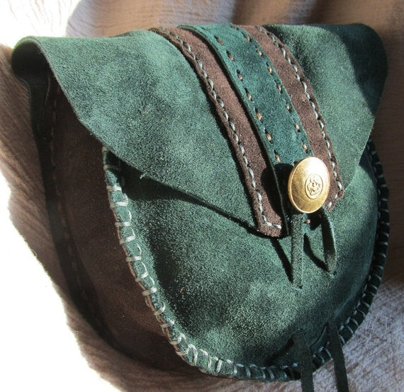 Leather Belt Pouch, Pouch Green and Brown Suede, LARP, SCA, Renaissance