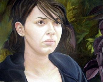 Original Art Oil Painting Portrait Girl