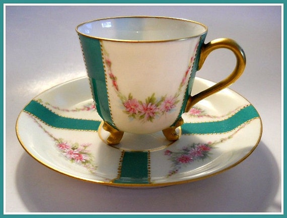 LIMOGES Cabinet Cup & Saucer Hand Painted French Porcelain Roses