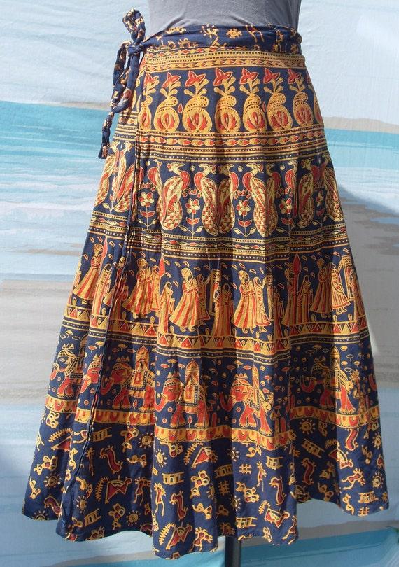 Vintage cotton ethnic India wrap skirt
