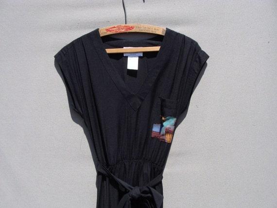 Reserved listing...80's Tropical bird printed black dress