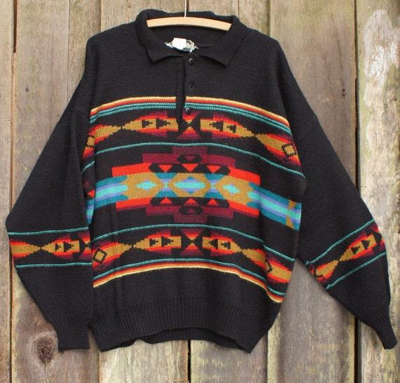 Italian wool 70's Navajo mens sweater