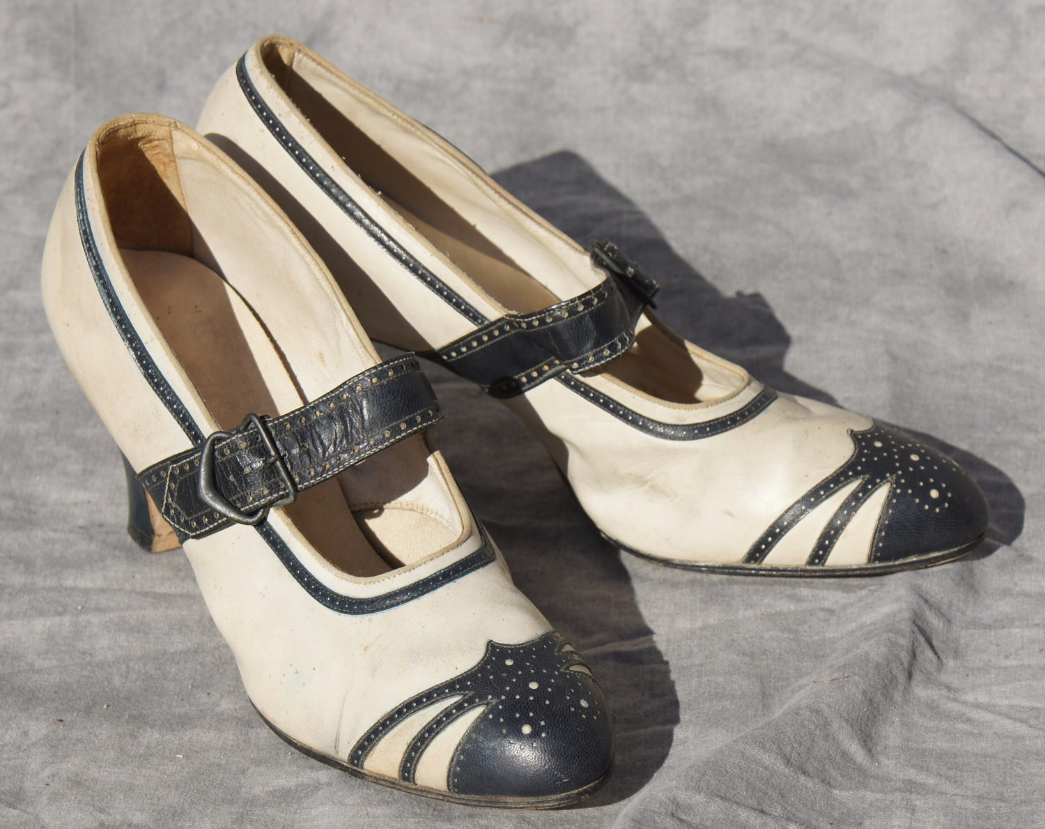 1920's Nautical leather flapper shoes womens 6