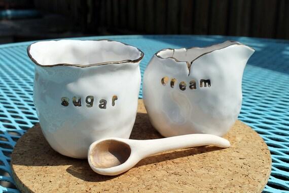 Porcelain & Gold Cream and Sugar Set