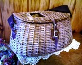 Sale Vintage Antique Wicker Fishing Creel Tackle Basket