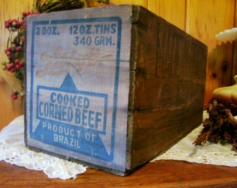 Wood Box Advertising Box Libby's Corned Beef Antique Country Farmhouse Decor