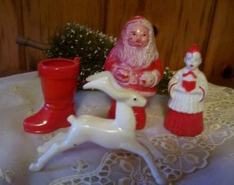 Christmas Ornaments Rosbro Santa Reindeer Choir Boy & Boot Vintage 1950's Decorations Candy Container