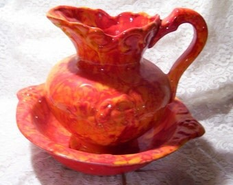 Water Pitcher & Bowl Set Vintage California Pottery Orange Splatter
