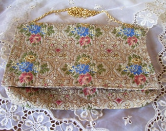 Delill Italy Tapestry Clutch Beautiful Antique Collectible Purse
