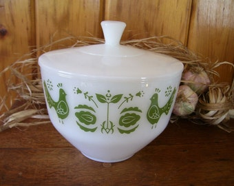 Antique Federal Milk Glass Lidded Bowl w/Birds-Doves On Sale