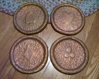 Copper Stove Covers Wrought Antique 1800's Americana Card Deck Suits Hand Made & Signed  N.J. Unique