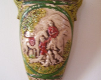 Wall Pocket Victorian Circa 1800's Composition Fox Hunt Scene Rare Wall Decor