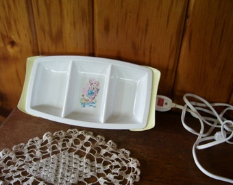 Antique Child's Hot Plate Bunny Rabbits GE 3 Sections Adorable