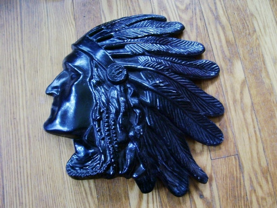 Antique Cast Iron American Indian Chief Head -Wall Hanging Wall Plaque Americana Western Decor