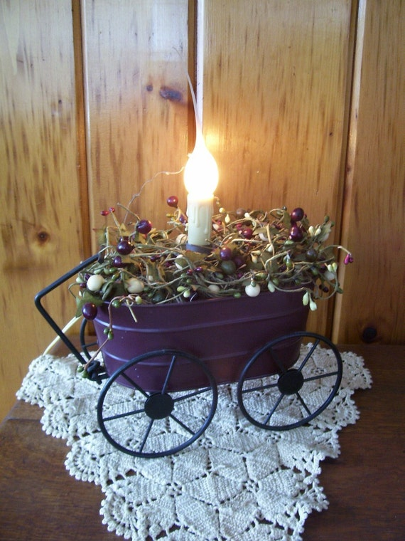 Country Primitive Red Metal Wagon Decoration w/Berries & Candle Light