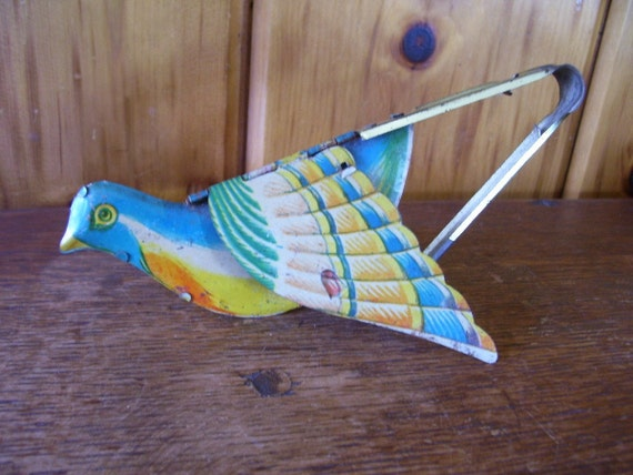 Antique Tin Toy Bird Flapping Wings Blue Bird Mechanical Tin Litho Toy