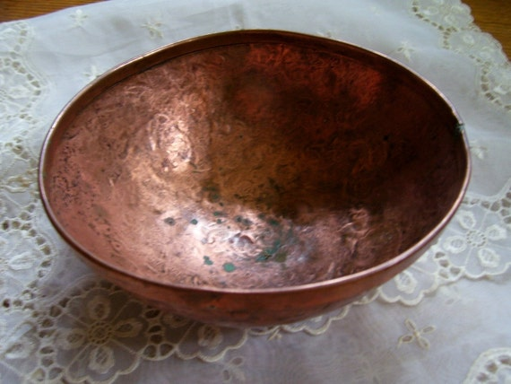 SaLe Primitive 1800's Hand Wrought Punched Copper Bowl