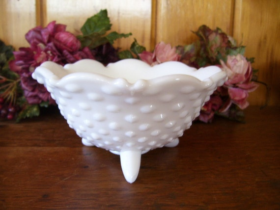Fenton Milk Glass Bowl Hobnail 3 Footed Bowl 1950's Antique Glass