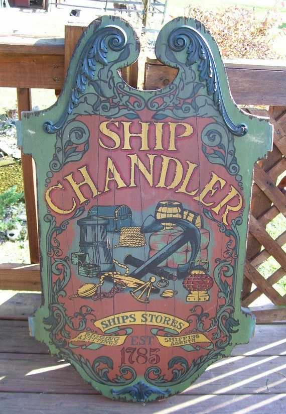 Antique Nautical Ship Chandler Wooden Sign Beach House Nautical Decor