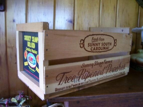 Sale Fabulous Antique Large Wooden Peach Box Sunny Slope Farms South Carolina