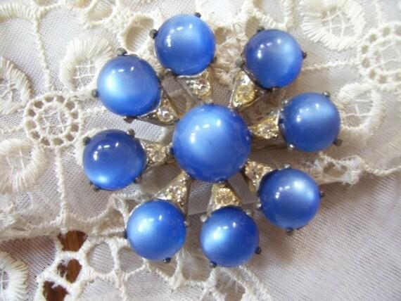Exquisite Antique 1920-1940's Art Deco Blue Chabochon & Rhinestone Brooch Pin