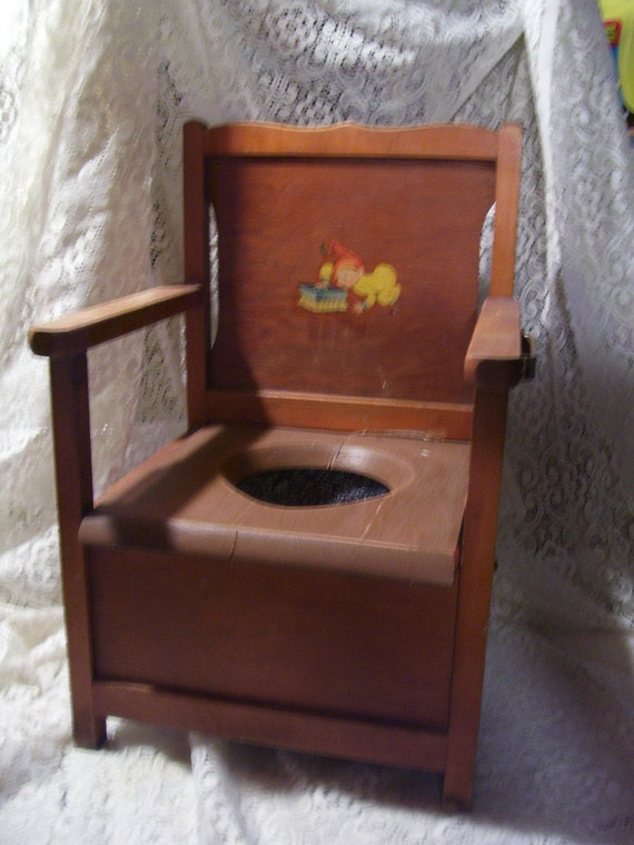 Antique Wood Child's Potty Chair w/Graniteware Grey Agate Pot Art Deco Furniture On Sale
