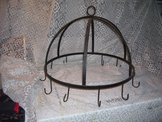 antique primitive large wrought iron pot rack by stonecottagemill