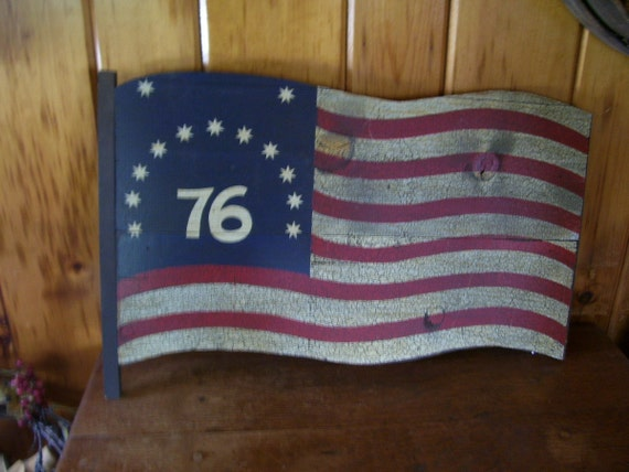 Antique  George Nathan Wood Sign American Flag