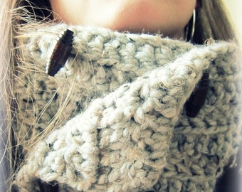 Thick Warm Cozy Cowl- Wool Blend Made to Order marble grey gray brown