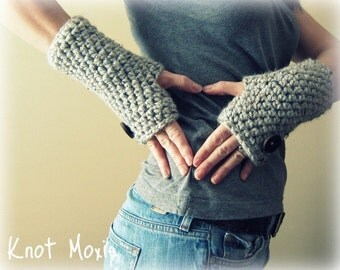 Thick Warm Cozy Fingerless Mittens- Wool Blend Made to Order marble grey gray