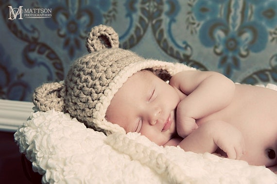 Grizzly Bear EarFlap Hat Soft Wool Blend or Organic Cotton Made to Order tan taupe cream blue