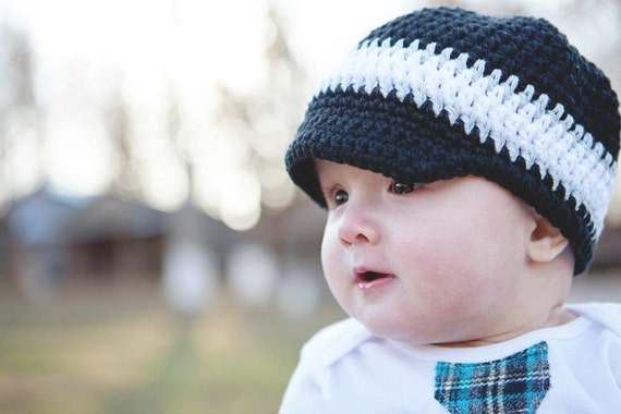 Newsboy Hat with Visor Brim cap Cotton Made to Order Baby to PreTeen Sizes Black Grey Gray White - Big Time Three
