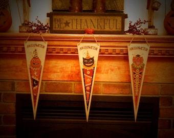 Primitive Set of 3 Halloween Banners /  Pennants  Black Cat, Pumpkin, Retro 1950's Devil